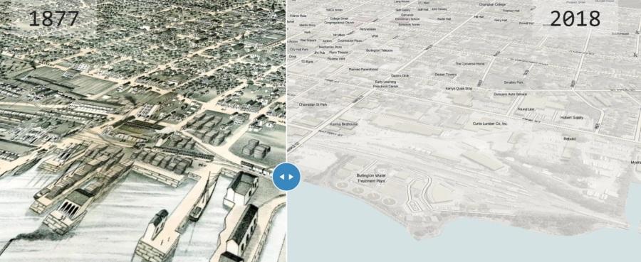 Burlington Birdseye View Slider Map